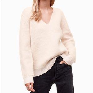 Aritzia Talula White Mohair Deep V Sweater